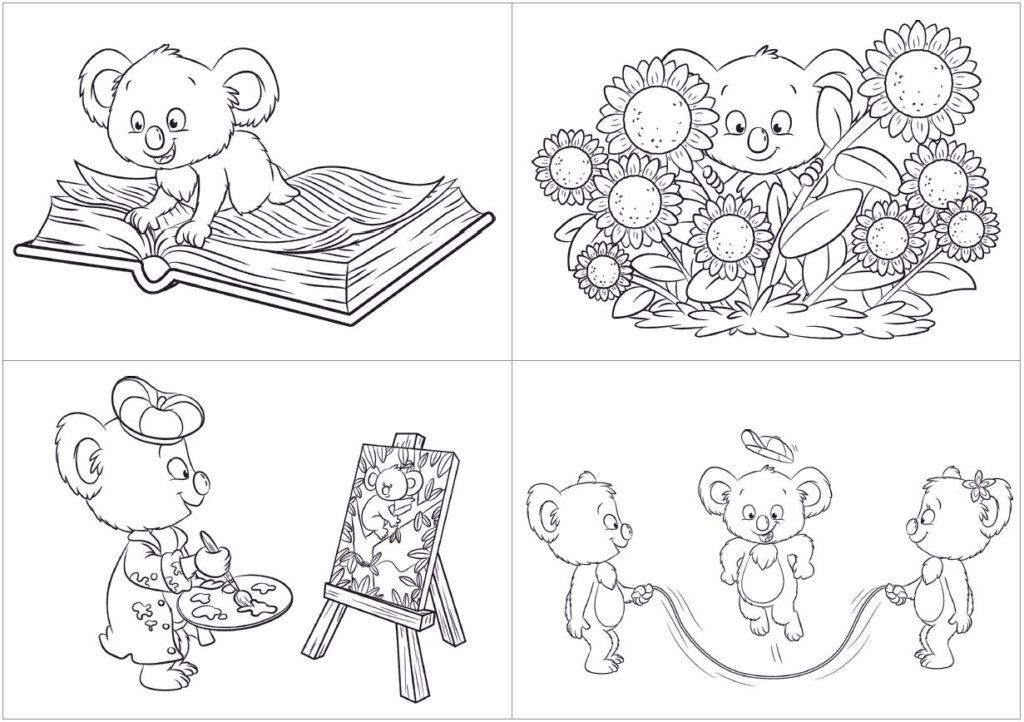 15 din a6 ausmalkarten koalas  zaubereinmaleins shop